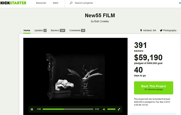 Polaroid New55 film on Kickstarter