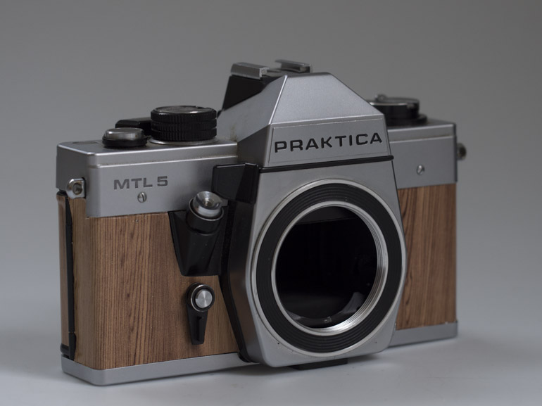 Praktica with wood veneer